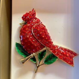 Rhinestone Cardinal Christmas Pin